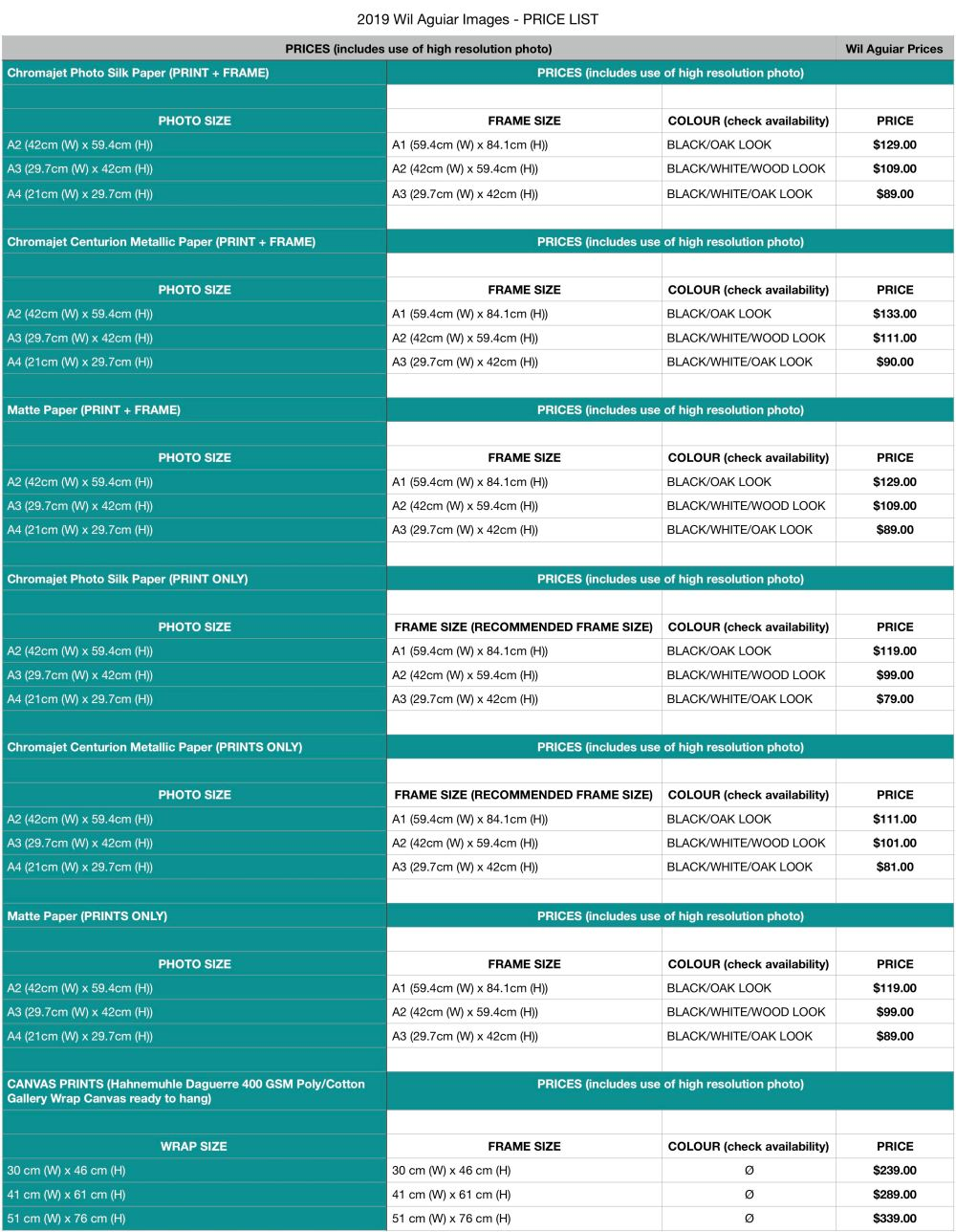 2019 Wil Aguiar Images Price List